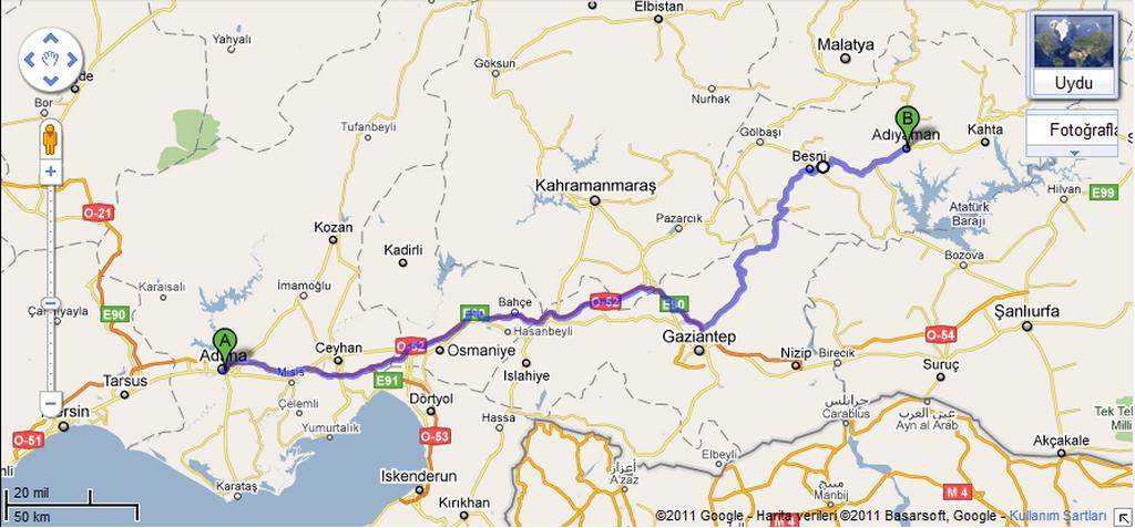 Adana Adıyaman Arası Kaç Km