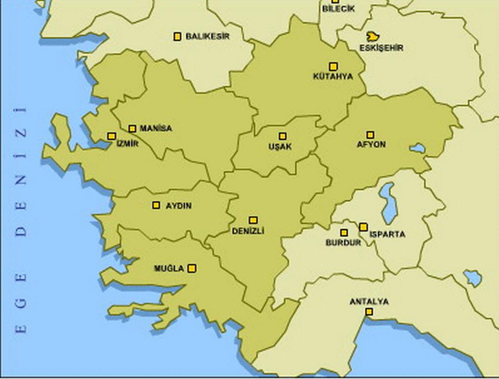 Coğrafi haritası ege bölgesi yol haritası ege bölgesi haritası
