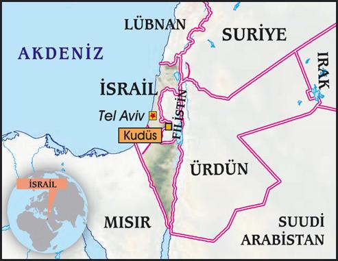 tel aviv kudüs harita ile ilgili görsel sonucu