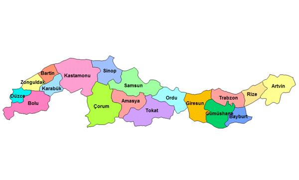 Karadeniz bölgesi haritası resimleri karadeniz bölge haritası