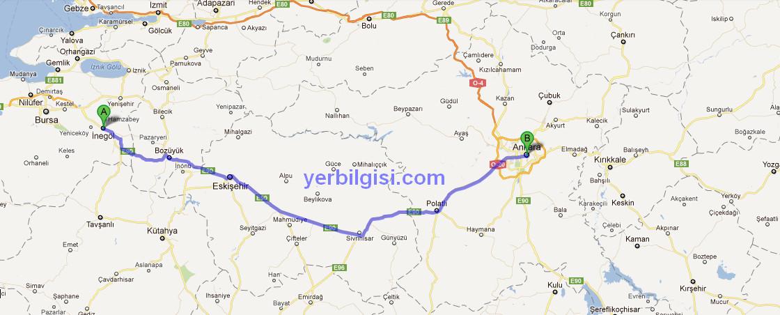 Önerilen rotalar339 km 4 saat 19 dk e90