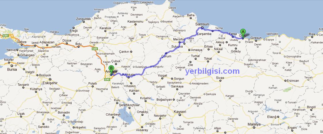Önerilen rotalar565 km 7 saat 48 dk e88